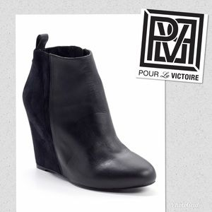Pour La Victoire leather and wedge ankle boots